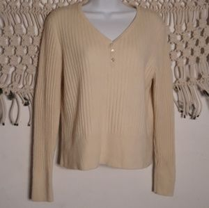 Charter Club cashmere cream ribbed knit sweater